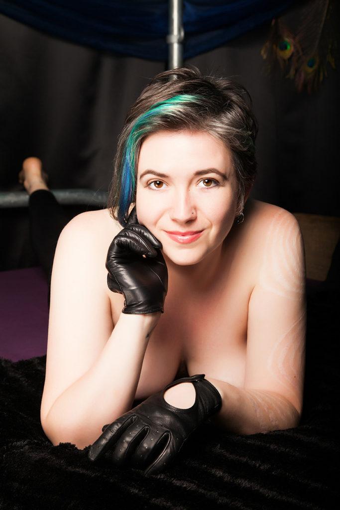 London Leather fetish femdom naked except gloves